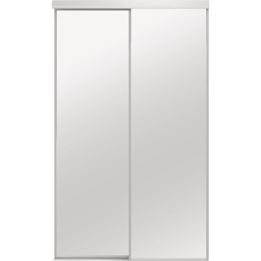 Colonial Elegance Classic 60 In. W x 80-1/2 In. H White Framed Mirrored Sliding Bypass Door