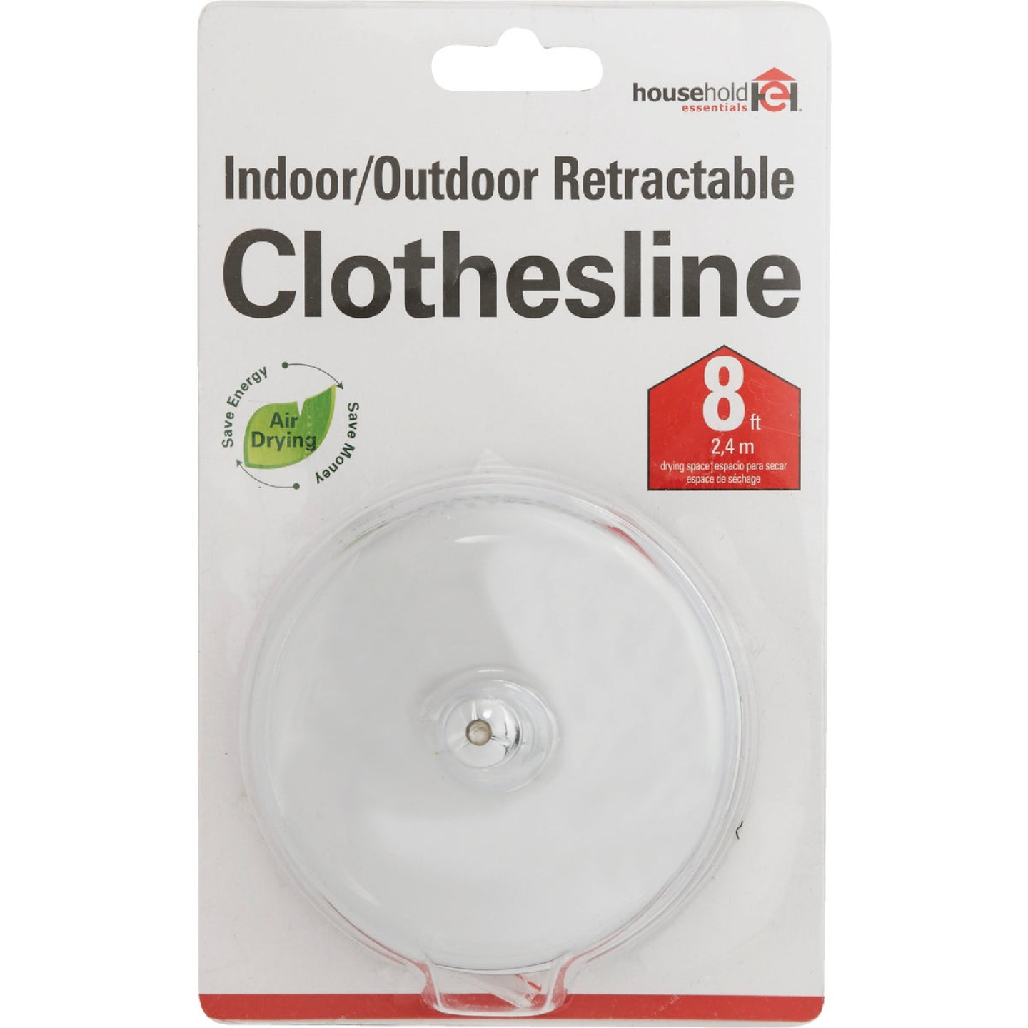 Household Essentials 8 Ft. 6.6 Lb. Capacity Stainless Steel Retractable Clothesline Image 2