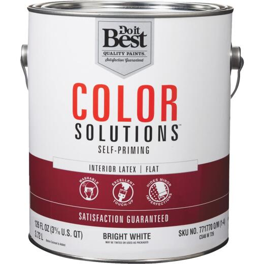 Do it Best Color Solutions Latex Self-Priming Flat Interior Wall Paint, Bright White, 1 Gal.