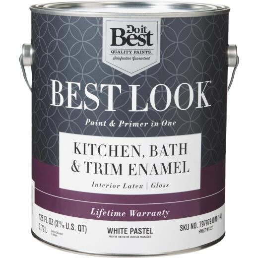 Best Look Latex Paint & Primer In One Kitchen Bath & Trim Enamel Gloss Interior Wall Paint, White-Pastel Base, 1 Gal.
